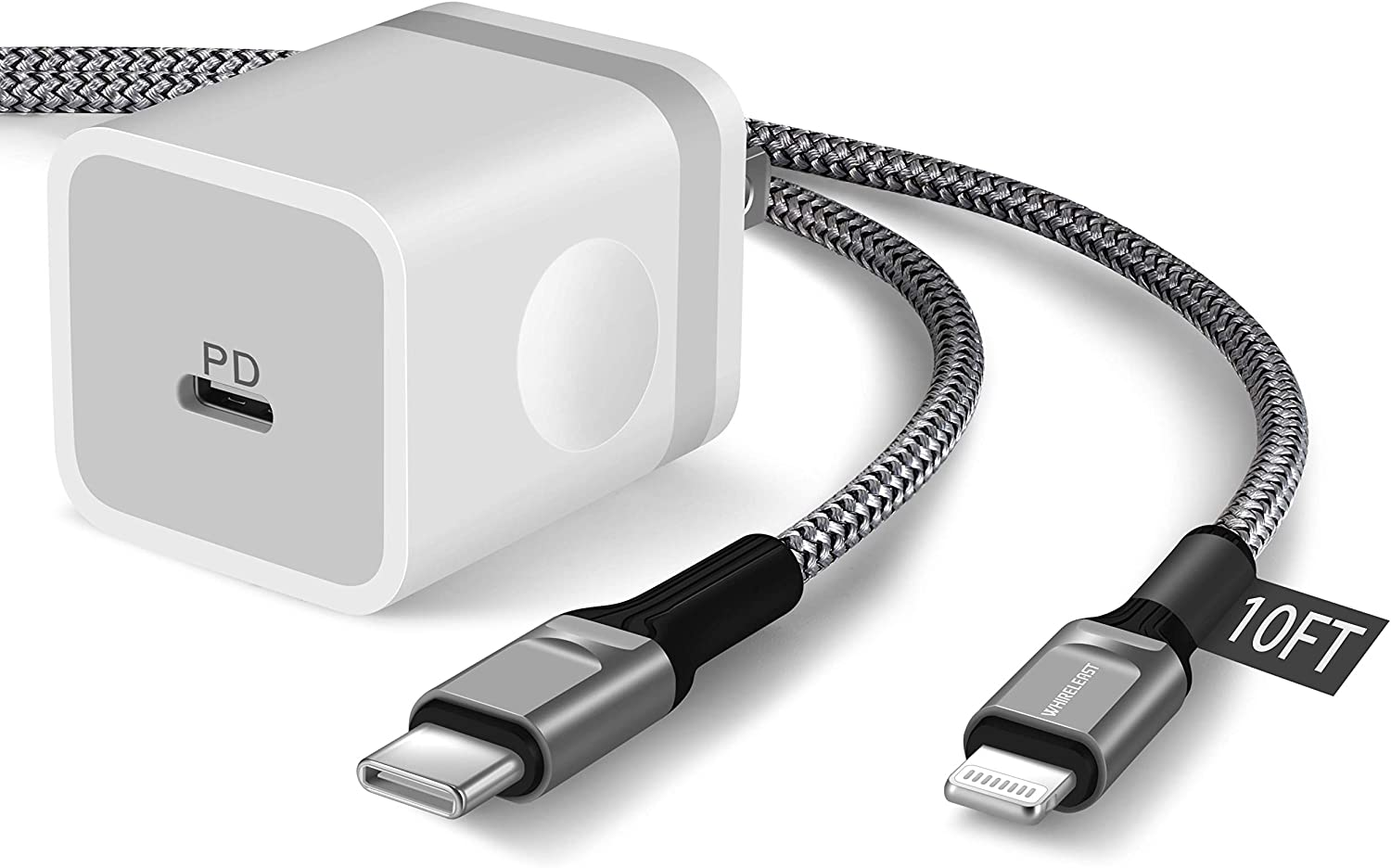 iPhone Fast Charger 10FT MFi Certified, WHIRELEAST 20W USB C Wall Charger Plug Block with 10 Foot Braided Long USB C to Lightning Charger Cable for iPhone 12/12 Pro Max/11/XS/XR/X/8, iPad, AirPods Pro