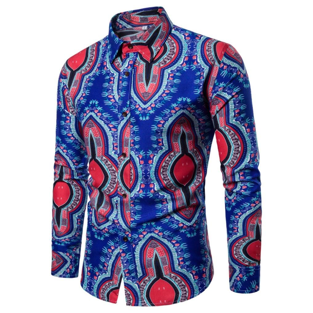 Mens Shirts Clearance vermers Man Nation Fashion Printed Blouse Casual Long Sleeve Slim Button Down Shirts Tops(2XL, Blue)