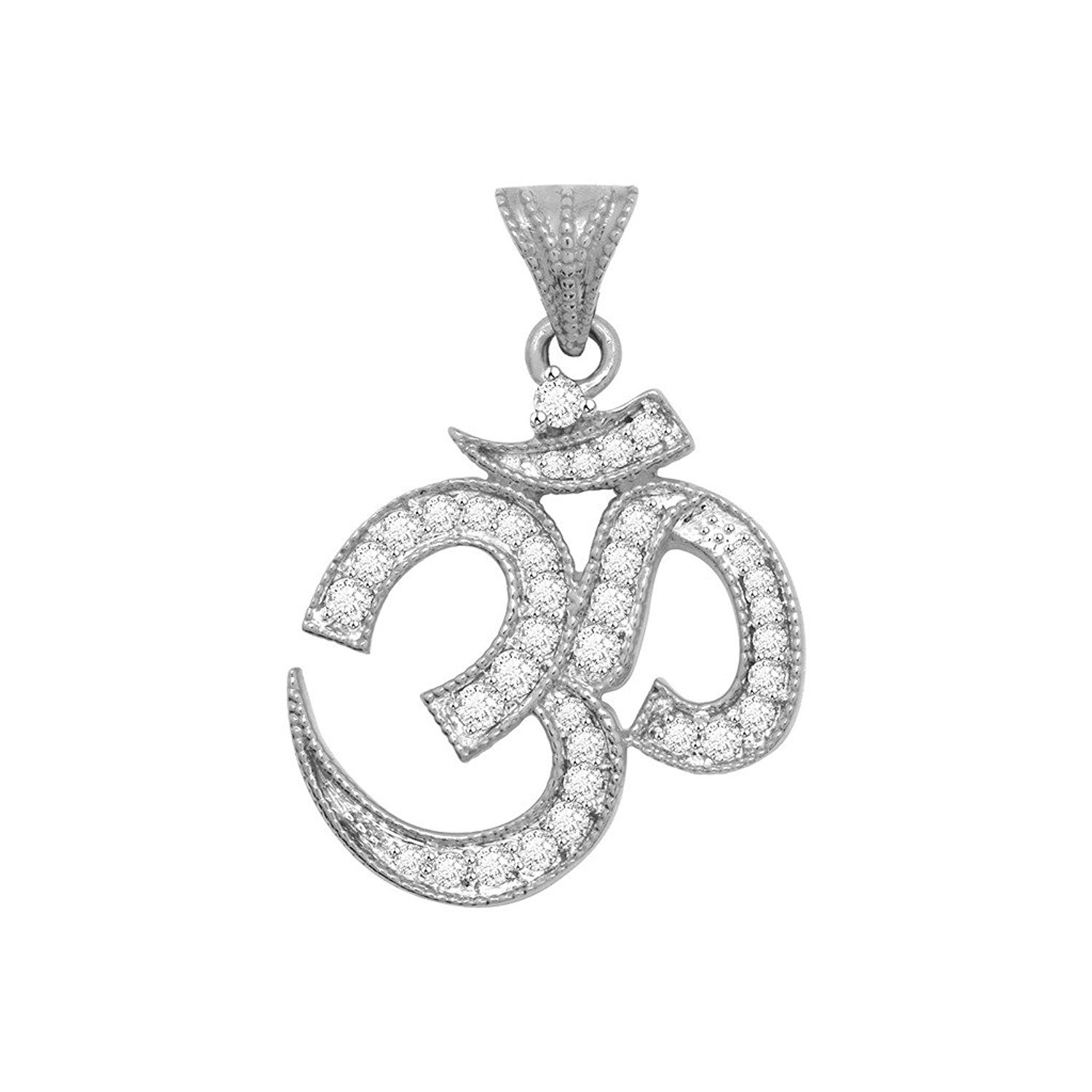 Simulated Diamond Studded Elegant Fashion Charm Pendant Necklace in 14K White Gold Plated With Box Chain