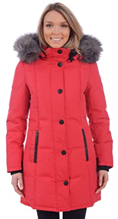 RedX Canada Women's Long Puffer Down Winter Coat With Faux Fur Lined Hood,  Small
