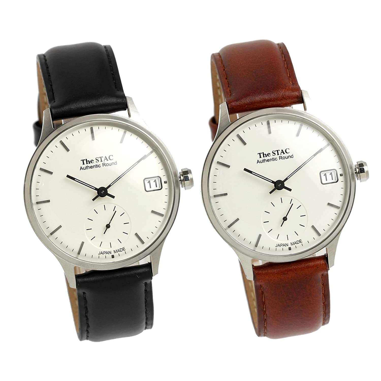 [ザスタック] The STAC ペア売り 日本製 腕時計 ウォッチ Authentic Round 36mm クラシック メンズ レディース B078N4MSXX