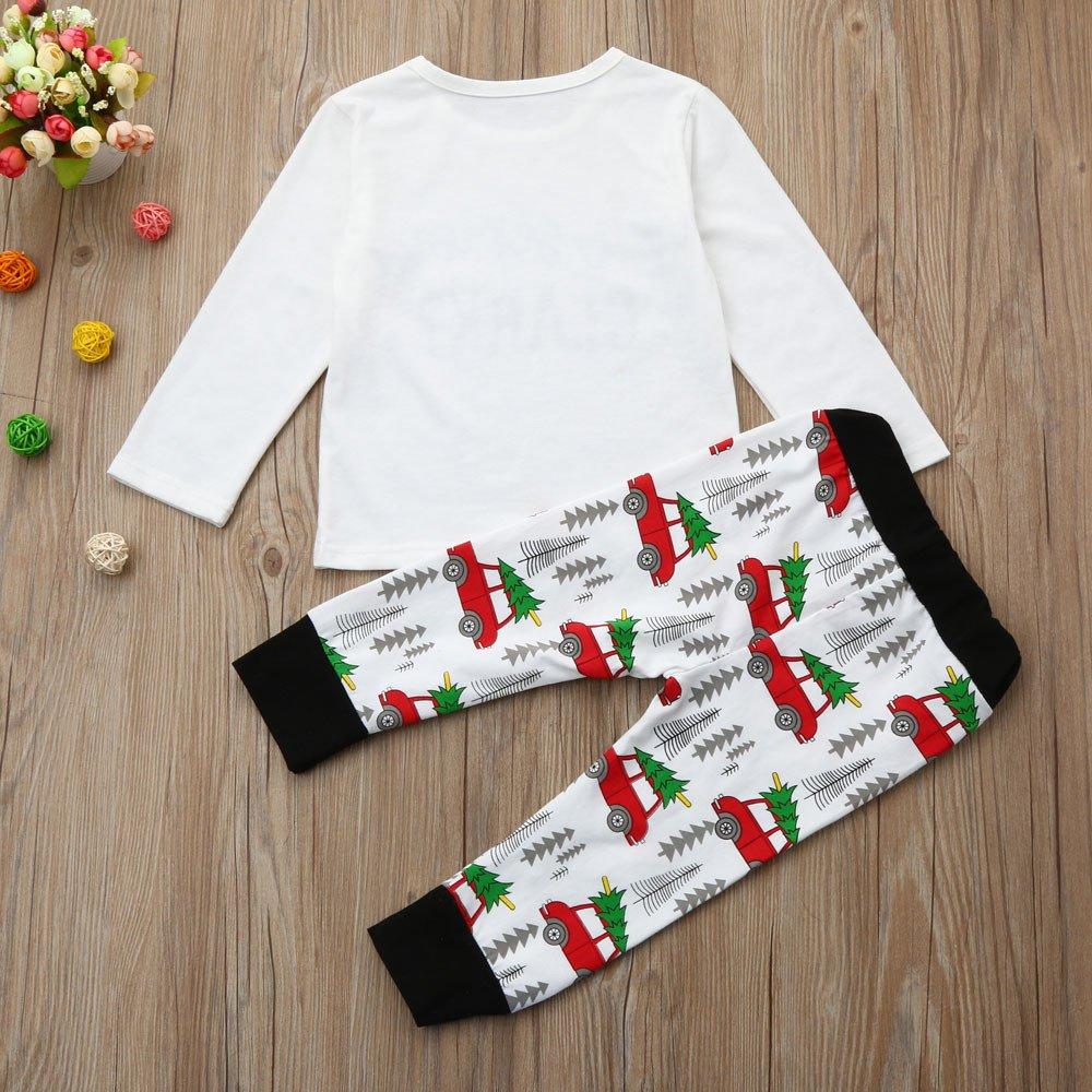 ❤ Conjunto de Ropa para el hogar para bebé, Navidad Recién Nacido Bebé Niño Niña Romper Tops + Pantalones de Rayas + Conjunto de Trajes de Sombrero ...