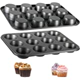 Muffin Pan, 12-Well Nonstick Cupcake Pan, Set of 2, TAOUNOA Heavy Duty Steel Muffin Tin.