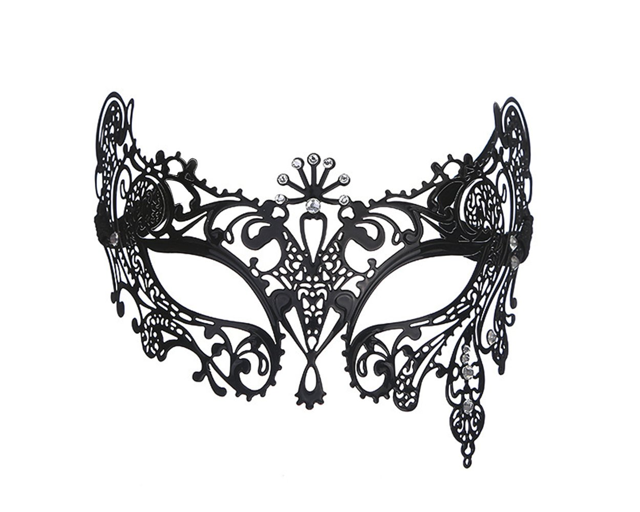 DSstyles Halloween Mask Venetian Style Masquerade Mask Metal Filigree Laser Cut Mask for Prom Party - Fox