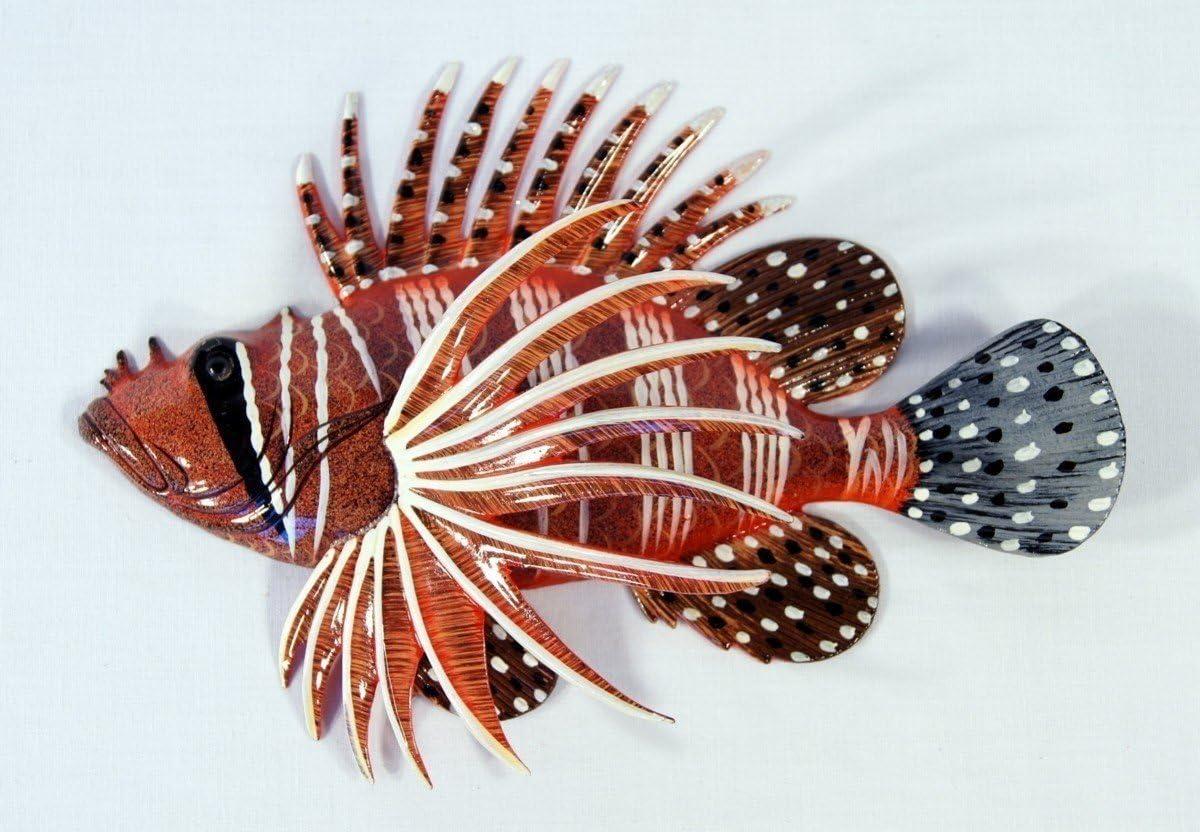"Handpainted RedTropical Lionfish Lion Fish Replica Wall Mount Decor Plaque 8"""