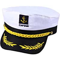 Healifty Yate Adulto capitán capitán Barco Marinero capitán Traje Sombrero Gorra Marino Almirante Marino (Blanco)