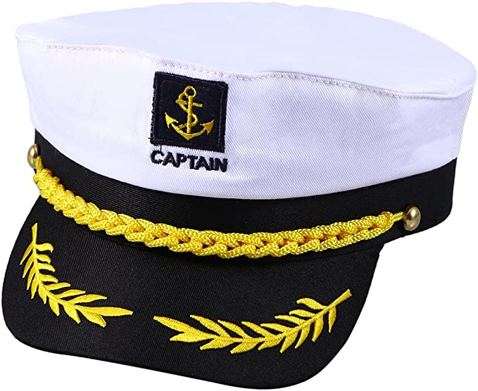 White Captain/'s Yacht Sailors Hat Navy Marine Cap Captain/'s Hat Adjustable