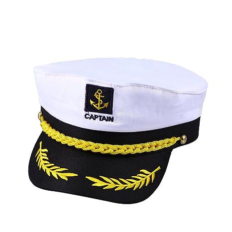 OULII Costume capitano Yacht barca nave marinaio cappello ammiraglio della  Marina Marine (bianco) 22d41a94115a