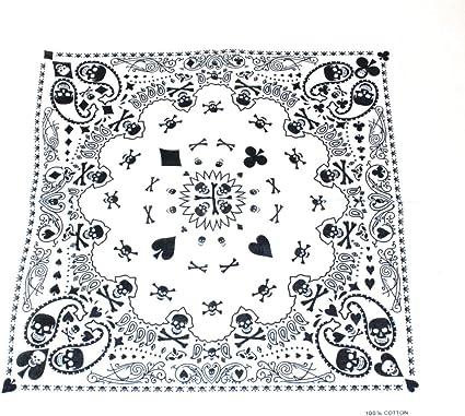Bandana 100% algodón con diseño de calavera y Paisley de efecto, 55 x 55 cm, color blanco/negro ideal para uso diario, Biker, piratas de fiestas etc.: Amazon.es: Ropa y accesorios
