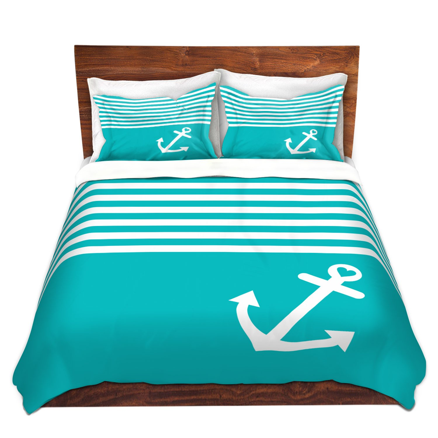 DiaNoche Designs Microfiber Duvet Covers Organic Saturation Teal Love Anchor Nautical
