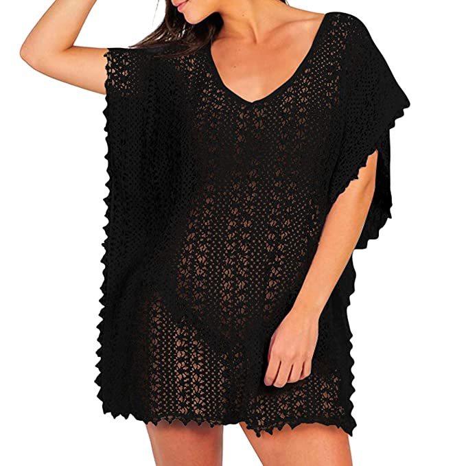 8d85b1489eeb1 Women's Casual Swimsuits Cover Ups Lace Crochet Tunic Hollow Out Swimwear  Bikini Beach Dress Black
