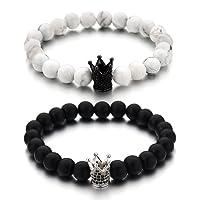 Monily Couples His & Hers Bracelet Black Matte Agate & White Howlite 8mm Beads Bracelet Crown Bracelet Friendship Relationship Bracelet