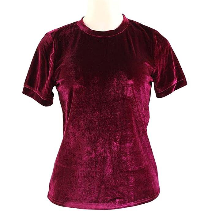 Camisetas para Mujer Dama Tops de Manga Corta Deporte Liso Blusas Ocio Deportivas Camisas Terciopelo Elegante