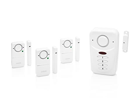 SABRE Home Wireless Alarm Kit – Loud 120 dB Siren – Easy Install – 3 Pack Window Alarm & Main Door Alarm w/Entry & Exit Delay Settings –NEW Home Mode ...
