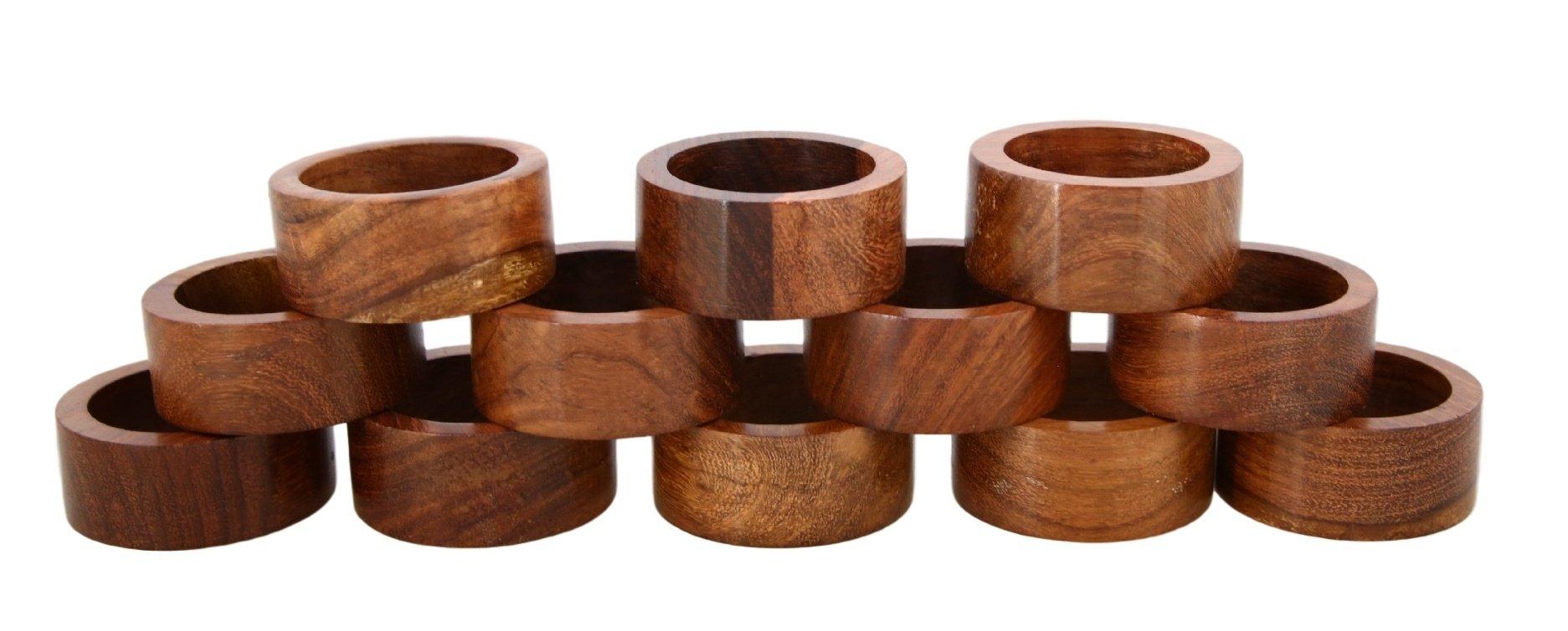 Shalinindia Handmade Wood Napkin Ring Set With 12 Napkin Rings - Artisan Crafted in India