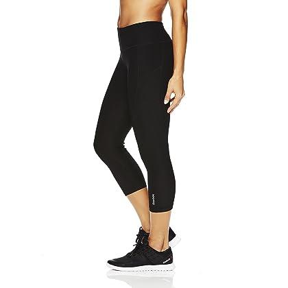 ... Reebok Women s Printed Capri Leggings with Mid-Rise Waist Performance  Compression Tights - Black 154fc9373
