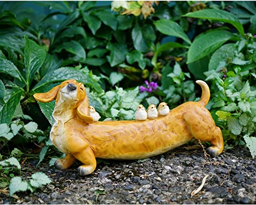 Top Collection 5.25″ Tall 11″ Long Large Garden Dachshund Birds Statue