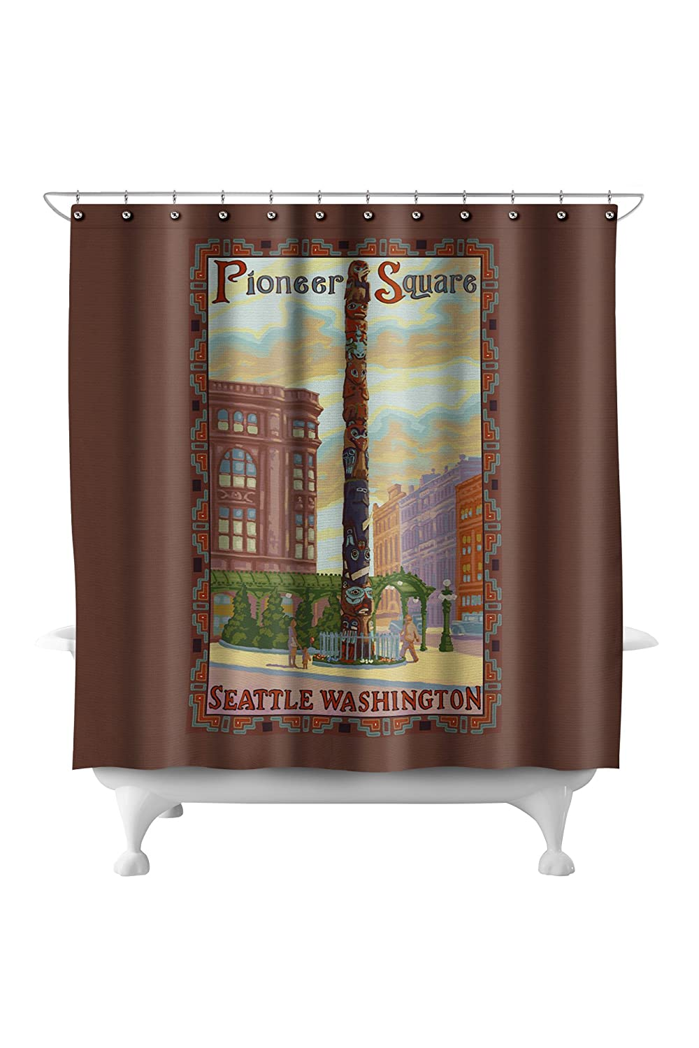 Amazon Pioneer Square Seattle 71x74 Polyester Shower Curtain