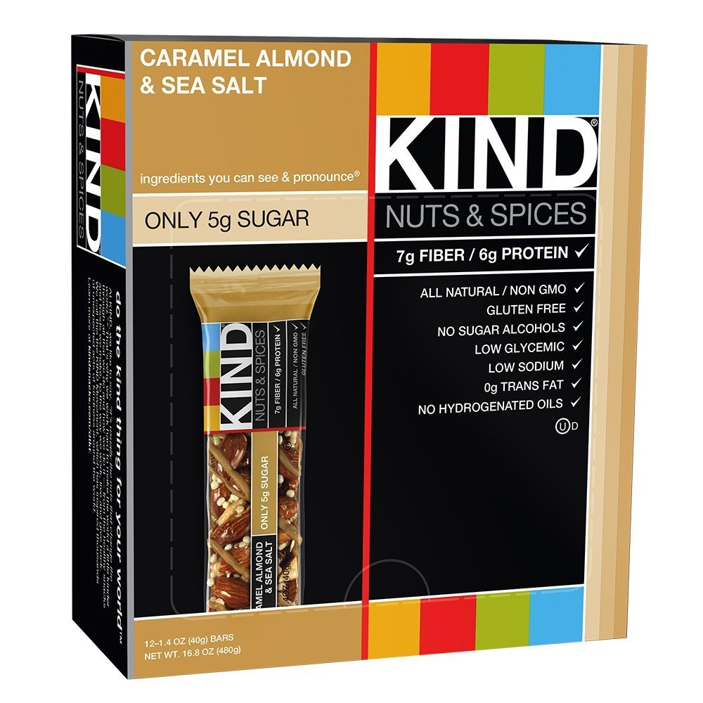 KIND Bars, Caramel Almond and Sea Salt, Gluten Free, 1.4 Ounce Bars, 12 Count (Pack of 2)