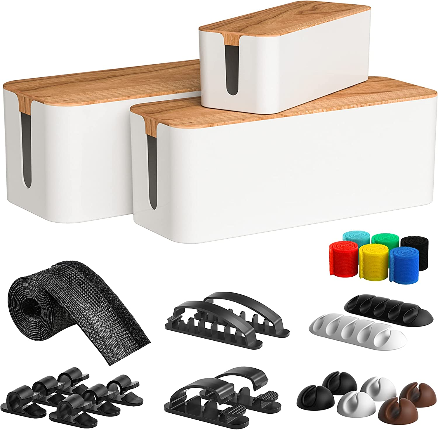 Cable Management Box 3 Pack with 16 Cable Clips&Sleeve Set-Large&Medium&Small Wooden Style Cable Organizer Box to Hide Wires&Power Strips | Cord Organizer Box | Cable Organizer for Home&Office [White]