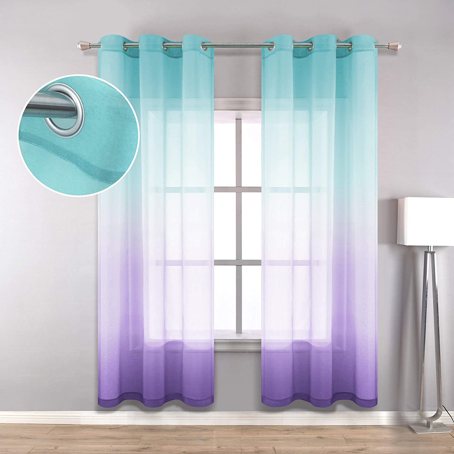 Green Purple Curtains 42 x 84 Inch Length for Girls Bedroom Decor Set 2 Panels Grommet Window Sheer Ombre Mermaid Gifts for Girls Room Decoration Youth Year Little Baby Nursery Turquoise Teal Lilac