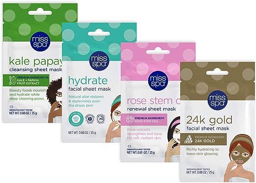 Miss Spa Best Sellers Facial Sheet Mask Set for Women, Hydrate, Kale Papaya, Rose Stem Cell, 24K Gold Glow, Anti-Aging, Anti-Wrinkle, 4-Pack