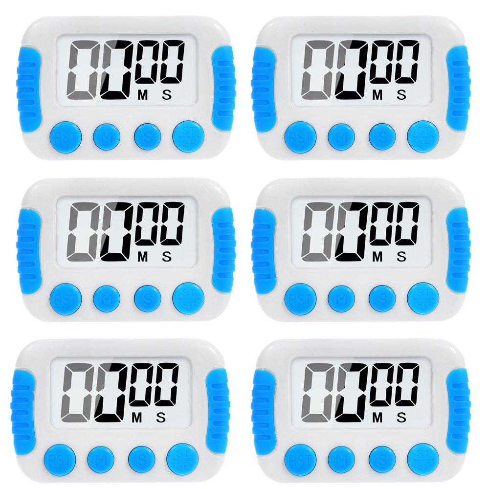 6 Pack Big Screen Digital Kitchen Timer Magnetic Back Minute Second Count Up Countdown LinkDm LinkDm-JS6