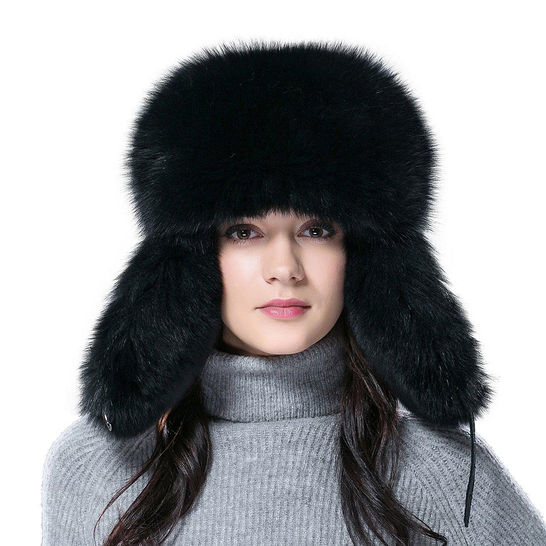 URSFURレディースフォックス&アライグマファートラッパーハットRussian Ushanka Cap with Ear Flap S(53-55cm) ブラック B0157TK3QO