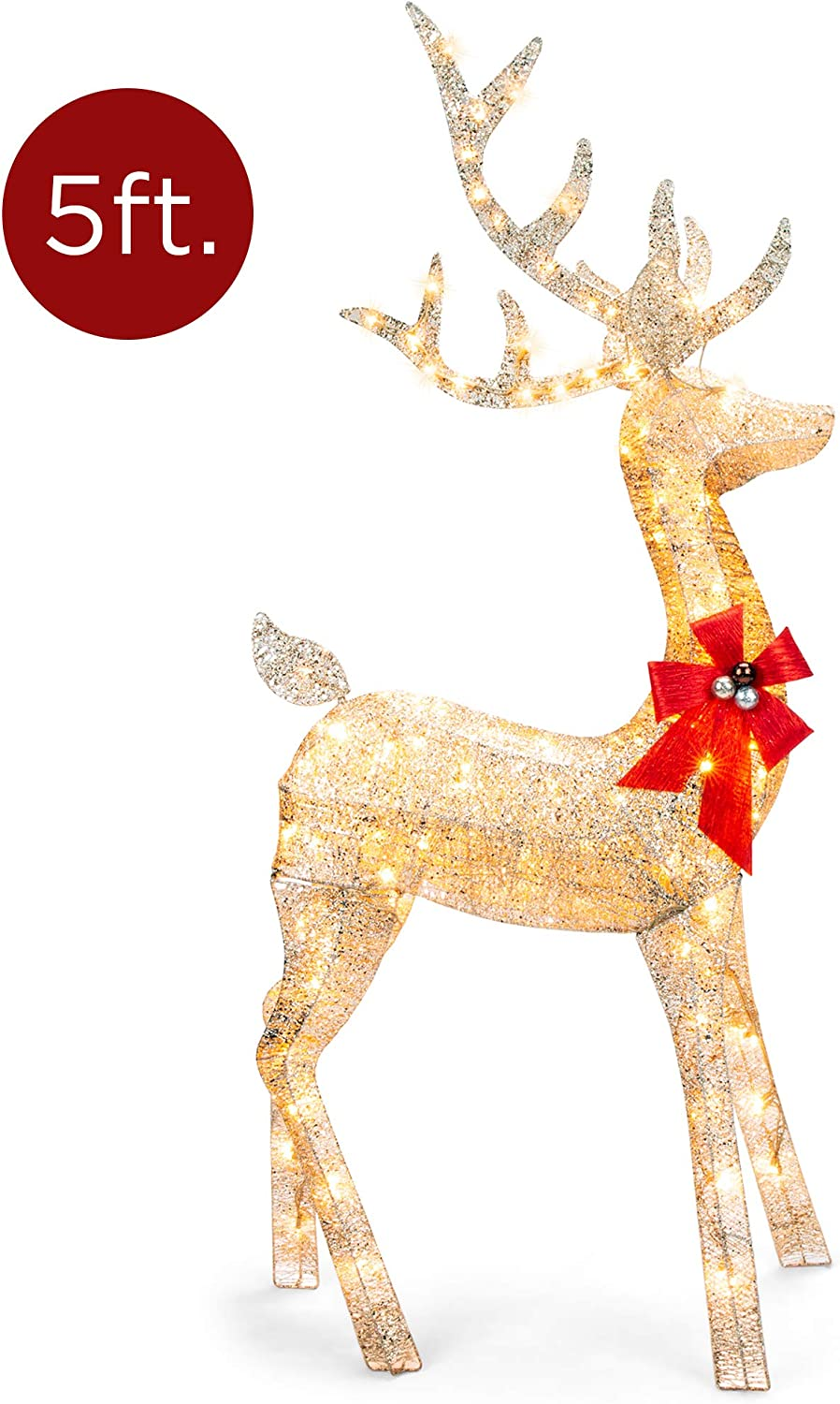 Best Choice Products 5ft 3D Pre-Lit Gold Glitter Christmas Reindeer Buck Yard Decoration w/ 150 Lights, Stakes, Zip Ties