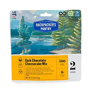 Backpacker's Pantry Dark Chocolate Cheesecake Mix, 2 Servings Per Pouch, Freeze Dried Food, 6 Grams of Protein, Vegetarian, Model:102612