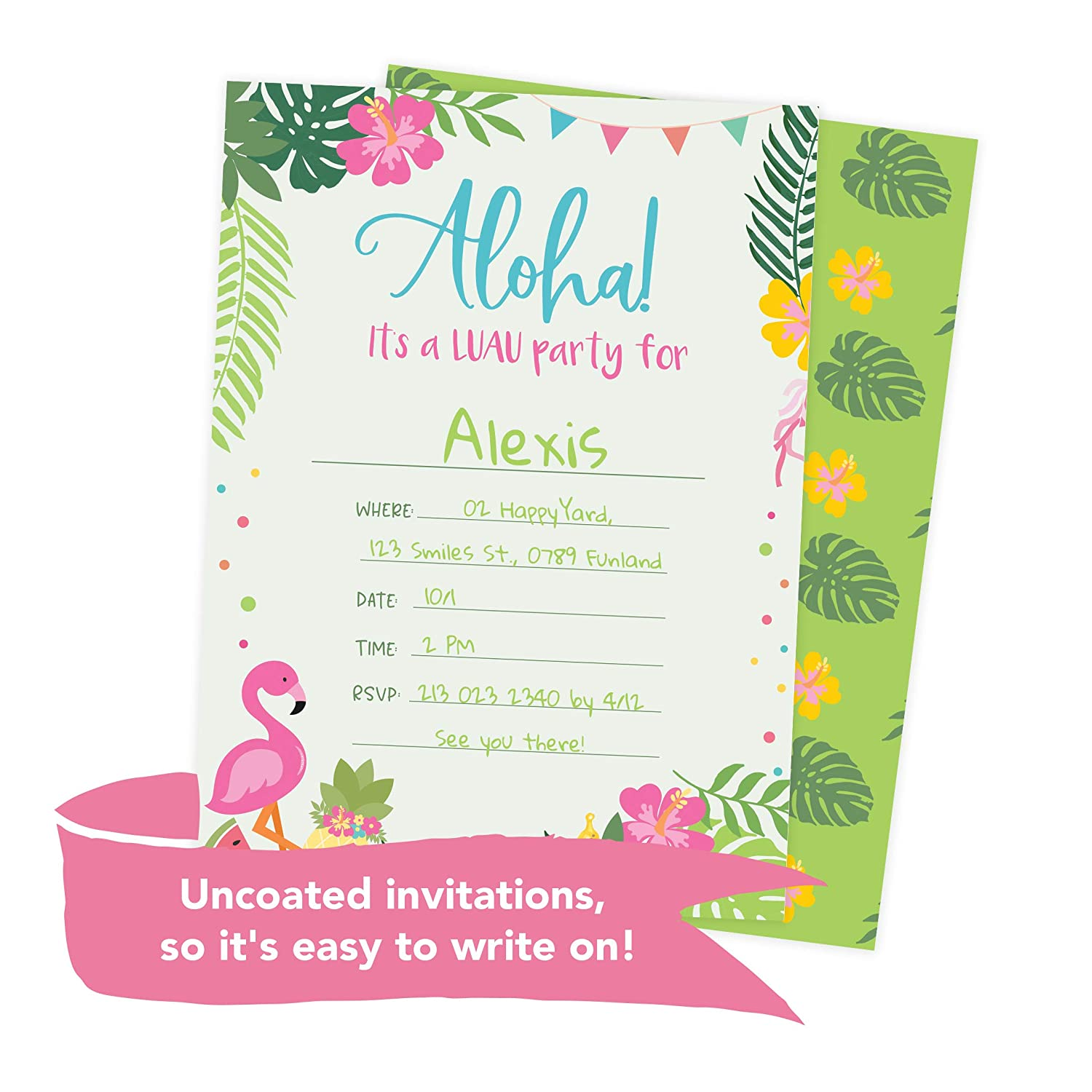 Amazon Luau 1 Hawaiian Happy Birthday Invitations Invite Cards 25 Count With Envelopes Seal Stickers Vinyl Girls Boys Kids Party Toys Games