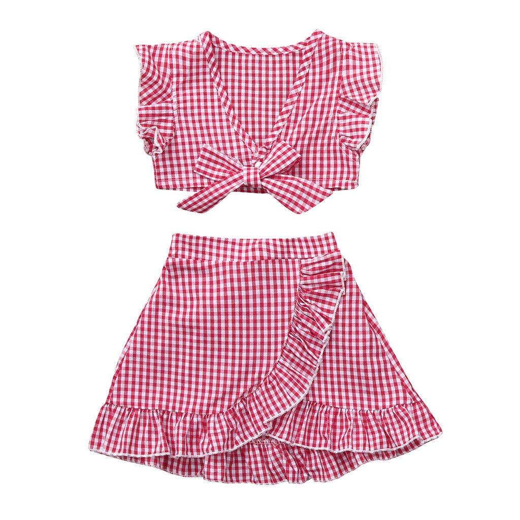 Waymine Toddler Girl Fly Sleeve Plaid Bow Cropped Tops+Skirt Outfit Baby Skirt Sets