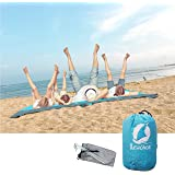 Lewonde Sand Proof Beach Blanket - 7'x9' Oversized Lightweight Fordable Waterproof Picnic Mat-Built In Sand Bag, Zippable Pocket-Free Ground Anchors - Ideal Family Outdoor Travel Kit (Blue, XX-Large)