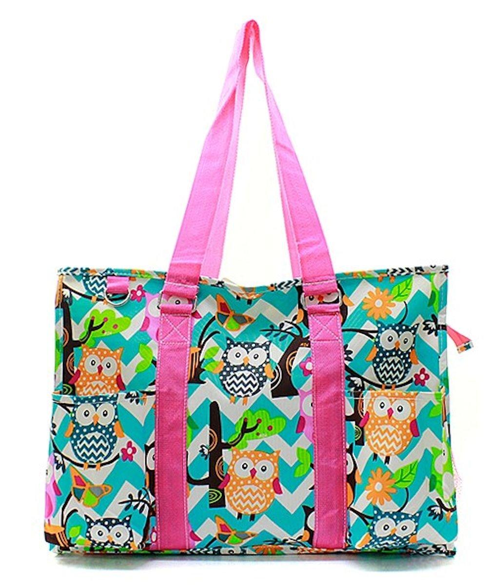 N. Gil All Purpose Organizer 18'' Large Utility Tote Bag (Chevron Owl Aqua/Hot Pink)