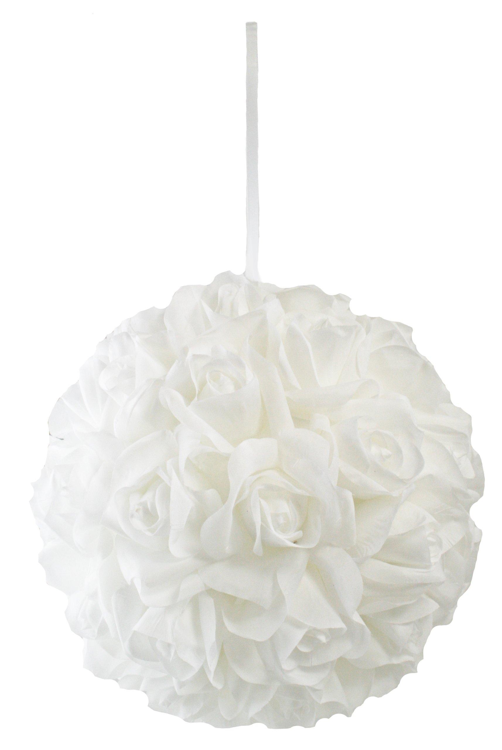 Garden-Rose-Kissing-Ball-White-10-Inch-Pomander-Extra-Large
