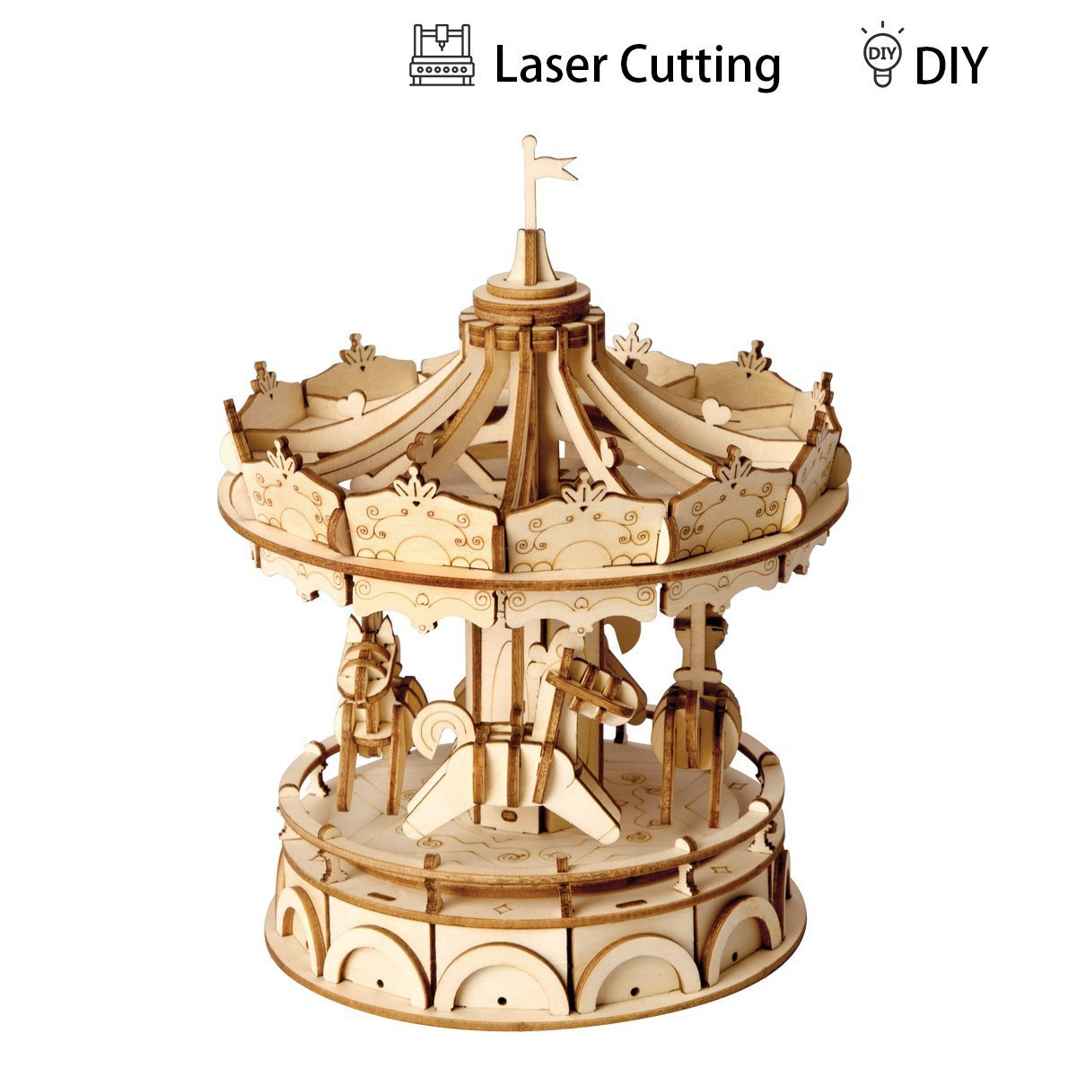 ROBOTIME 3D Merry-Go-Round Wooden Jigsaws Kit Wooden Puzzles DIY Hand Craft Mechanical Toy Gift for Kids Teens Adults