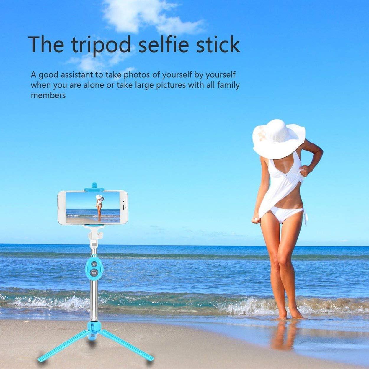 Tr/ípode Celular de Mano Selfie Stick Monopod Soporte para iOS Fit Android Smartphone Lorenlli Acero Inoxidable 4 en 1 Wireless Bluetooth 4.0 Obturador Remoto