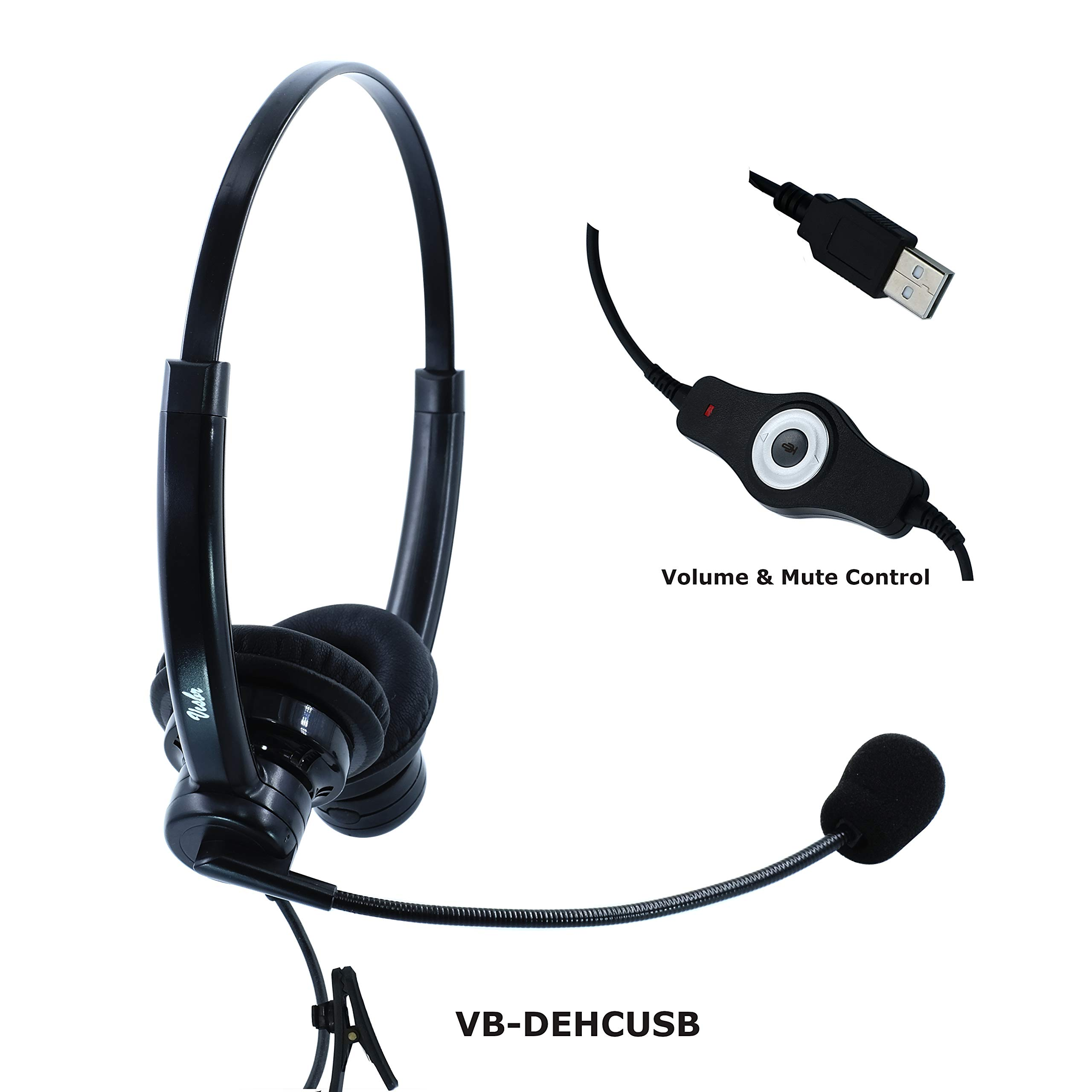 Two Ears USB Call Center Headset with Noise Canceling Microphone | for Windows, MAC, Linux