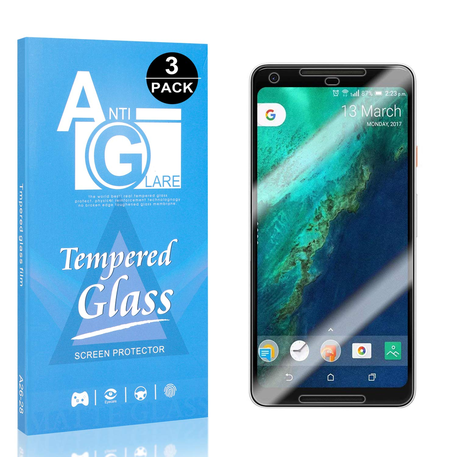 3 Pack Screen Protector Compatible with Google Pixel 2 XL, UNEXTATI 3D Touch DoubleDefence Technology, 9H Hardness HD Clear Tempered Glass Film