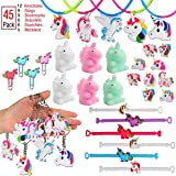 klmars Rainbow Unicorn Party Favors(48Pack)-Unicorn Bracelets,BookMark,Necklaces,Keychains,Wristbands For Kids Birthday Party Favor Supplies-Best Themed Pack Novelty