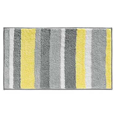 iDesign Stripz Bath, Machine Washable Microfiber Accent Rug for Bathroom, Kitchen, Bedroom, Office, Kid's Room, 21  x 34 , Gray and Yellow