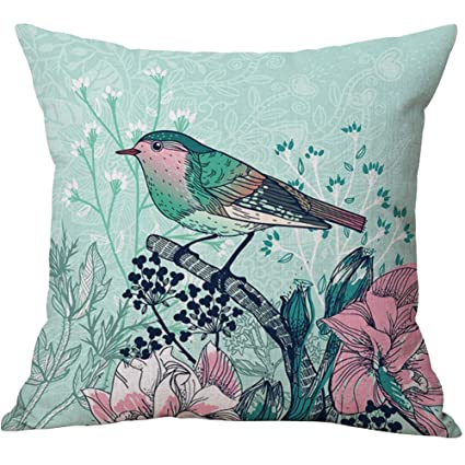 45cmX45cm Flowers Pattern Home Throw Pillow Case Cotton Linen Sofa Cushion Cover