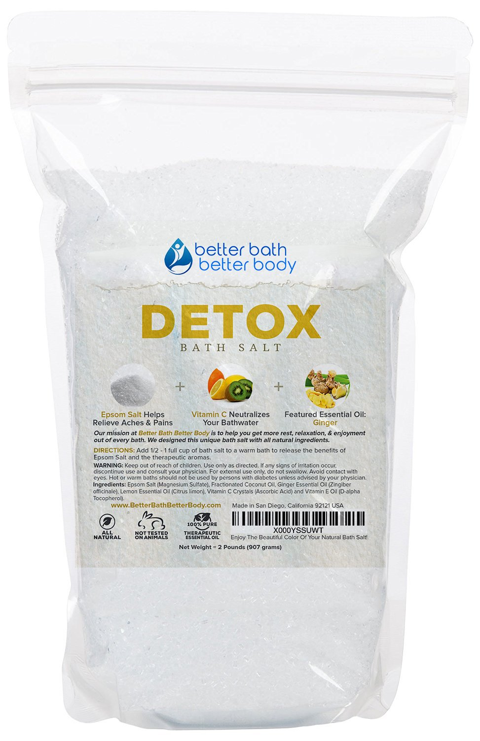 Detox Epsom Salt Bath Soak With Ginger & Lemon Essential Oils Plus Vitamin C - 100% All Natural No Perfumes No Dyes - Detoxify & Revitalize Your Body & Mind Naturally (2 Pounds) Better Bath Better Body