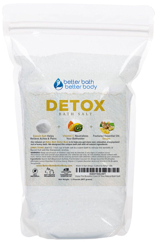 Detox Bath Salt 32oz (2-Lbs) - Epsom Salt Bath Soak With Ginger & Lemon Essential Oil Plus Vitamin C - All Natural No Perfumes No Dyes - Detoxify & Revitalize Your Body & Mind Naturally