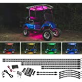 LEDGlow 12pc Million Color LED Golf Cart Underglow Accent Neon Lighting Kit with Canopy, Wheel Well & Interior Lights…