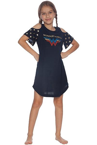 81f4d4902cc26 DC Comics Girls' Wonder Woman Cold Shoulder Glitter Nightgown