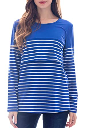 bbc2dc34d8897 Smallshow Women's Maternity Nursing Tops Long Sleeve Striped Breastfeeding T -Shirt Small Blue