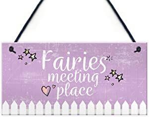 """Meijiafei Garden Sign Fairies Meeting Place Wooden Hanging Heart Shed Summerhouse Plaque Gifts for Her 10"""" X 5"""""""