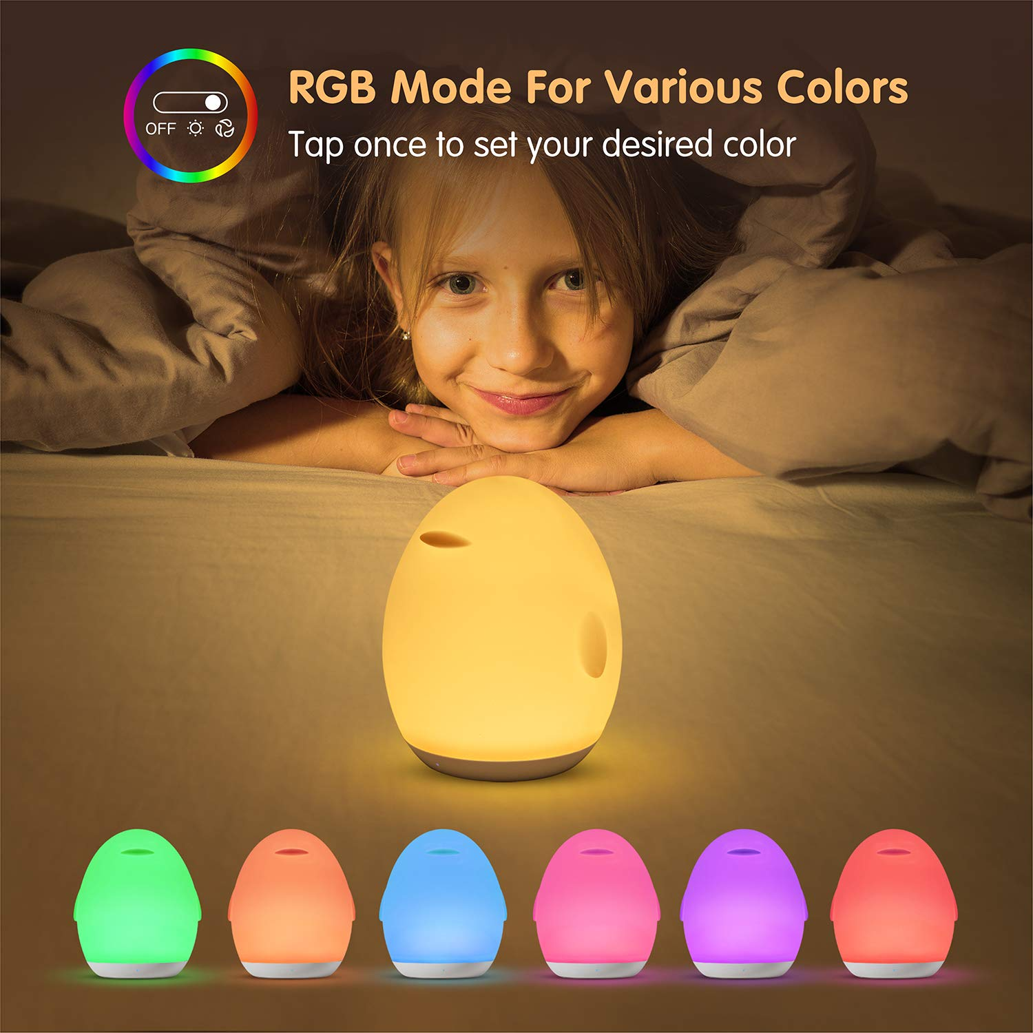 1H Timer Baby Nursery Light Bedside Lamp for Breastfeeding with Dimming Function Up to 100H Rechargeable Night Light with Eye Caring LED Touch Control Night Light for Kids Color Changing Mode