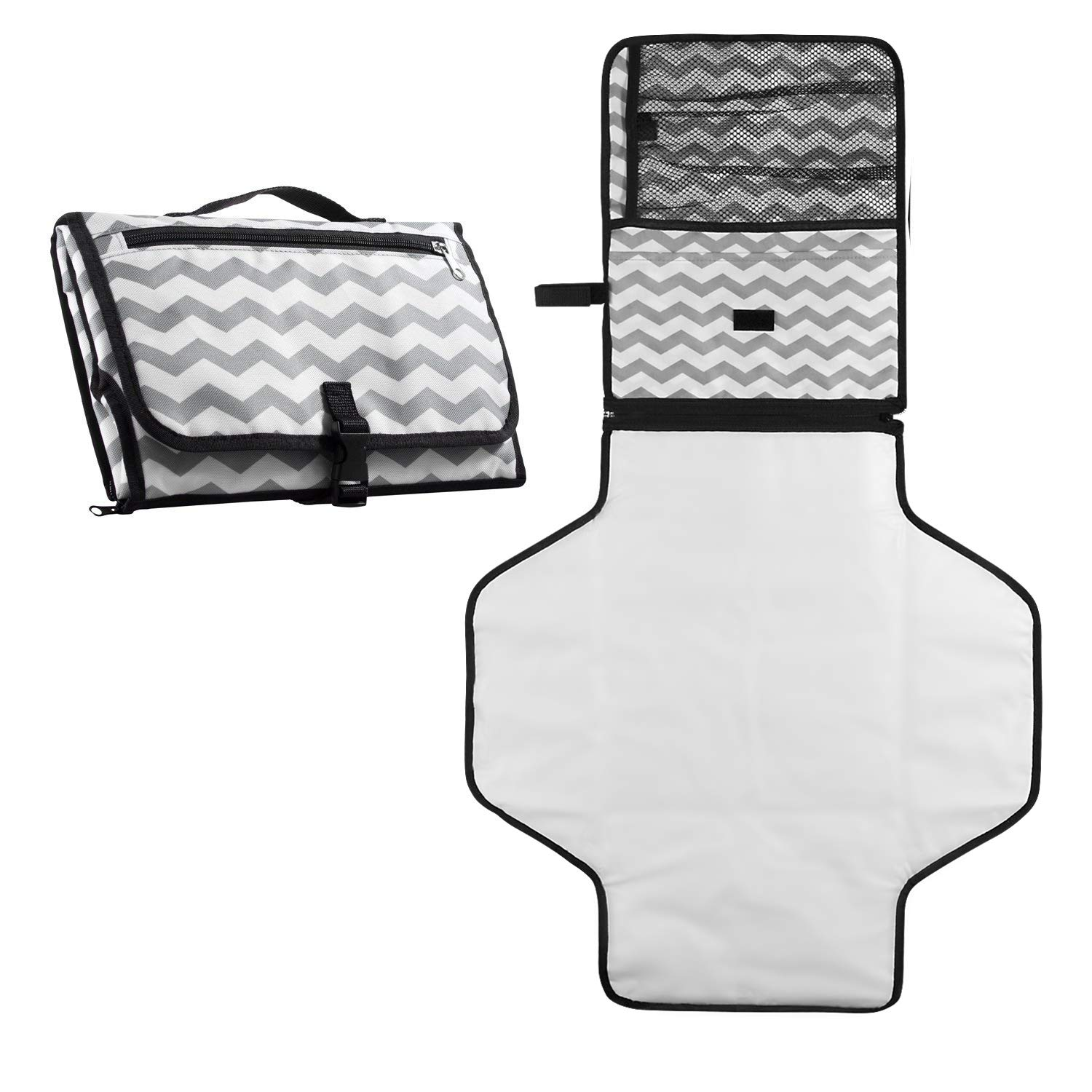 Baby Diaper Changing Pad, Fushop Travel Diaper Changing Station Portable Change Diaper Bag Nappy Changing Mat Waterproof Clutch Set(White) F320a
